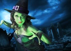 Fantasy, Halloween, Zielona, Czarownica