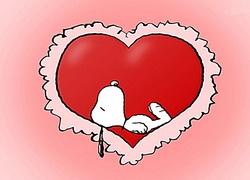 Snoopy, kresk�wka, serce