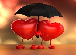 Walentynki, Dwa, Serca, Parasol
