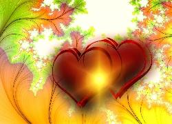 Serca, Kolorowe, T�o, Walentynki, Grafika