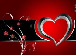 Walentynki, Grafika, Serce, Kwiatki