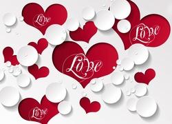 Walentynka, Czerwone, Serca, Z, Napisem, Love