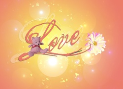 Mi�, Kwiatek, Napis, Love