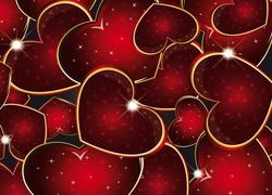 Walentynki, Czerwone, Serduszka, Mi�o��, Grafika