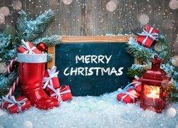 Kompozycja, Boże Narodzenie, Śnieg, Gałązki, Świerka, But, Prezenty, Lampion, Tablica, Napis, Merry Christmas