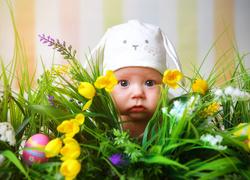 Dziecko, Czapeczka, Wielkanoc, Kwiaty