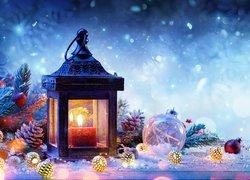 Kompozycja, Świąteczna, Lampion, Bombki, Śnieg, Boże Narodzenie