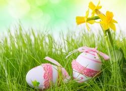 Wielkanoc, Pisanki, Żonkile, Trawa