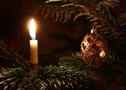 Boże Narodzenie, Choinka, Bombka, Świeca