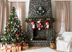 Pokój, Kominek, Fotel, Choinka, Prezenty, Boże Narodzenie