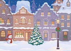 Grafika 2D, Boże Narodzenie, Bałwanek, Latarnia, Domy, Choinka