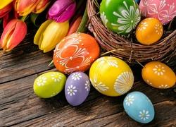 Wielkanoc, Jajka, Pisanki, Tulipany, Kompozycja