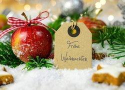 Kompozycja, Świąteczna, Boże Narodzenie, Jabłko, Gałązki, Zawieszka, Napis, Frohe Weihnachten, Wesołych Świąt